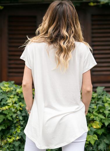 XHAN Baskılı Salaş Bluz 0Yxk1-43350-02 Beyaz